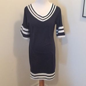 Blue Form Fitting Dress with striped accents